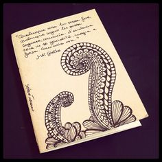 Illustrated notebook cover, zentangle design. Diy notebook A6 on recycled paper. Zenflower #08