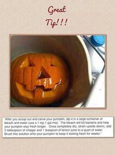 Keep your carved pumpkin fresh longer
