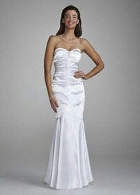 Strapless stretch charmeuse fit to flare skirt. Davidsbridal.com