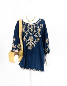 Vintage Shirt Navy Blue and Gold Bohemian by FiregypsyVintage