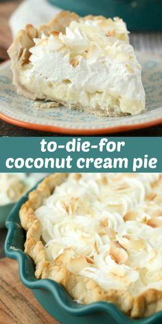 Easy Pie Recipes, Cream Pie Recipes, Sweet Recipes, Baking Recipes, Coconut Desserts, Coconut Recipes, Delicious Desserts, Coconut Ideas, Best Coconut Cream Pie