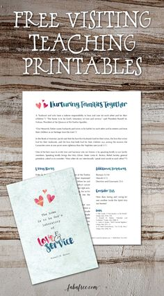 Free Printable Visiting Teaching Handout  // August 2016