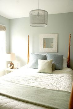 The paint color is Benjamin Moore, 1563, Quiet Moments