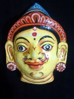 A pattachitra papier mache mask of Draupadi from by PattachitraNet
