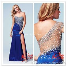 Cheap 2014 Evening Dress - Discount 2014 Side Slit Evening Dresses Jaw Dropping Sheer One Shoulder Beaded Accent Formed Fitted Mac Duggal Cassandra Stone Prom Gown 76601a Online with $129.59/Piece | DHgate