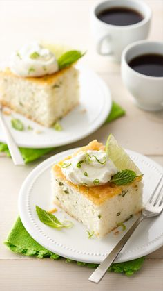 Slices of tender white cake, infused with lime and pretty flecks of fresh mint. A rum glaze and dollop whipped cream make for the perfect finish.