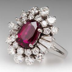 Vintage Ruby Cocktail Ring w/ Diamond Spray