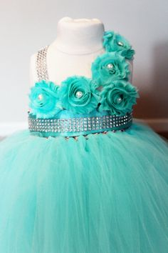 Aqua Bling Tutu Dress Flower Girl Tutu by ClassySassyElegance, $69.00