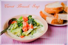 Carrot and broccoli soup  (serves 2): 1 medium carrot, 2 celery, 1/2 onion, 1 broccoli, 500ml milk, 1/2tsp salt, 1/4tsp dried thyme, 1/8tsp black pepper, 2 tbs flour, Olive oil  Method:Heat olive oil, add chopped carrot, celery and onion, cook ~ 3mins, add brocolli and cook for another 3mins. Add 400ml milk, salt, thyme and pepper, bring to a boil; reduce heat to simmer until tender. Blend flour and 100ml milk and pour into soup, cook for another 2mins.   Source: kokotaru.com