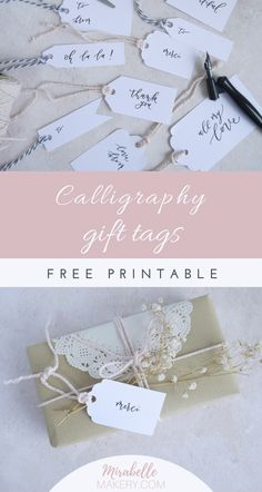 Free calligraphy gift tag printable to add some love to your gift wrap Free Printable Gift Tags, Free Printables, Diy Souvenirs, Diy And Crafts, Paper Crafts, Craft Packaging, Tea Party Decorations, Stationery Paper, Custom Greeting Cards
