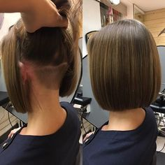 All hidden away... love how this elegant style hides away the undercut, wow !! Credit to @salongshair To have your hair featured please tag @bobbedhaircuts #myhair #ilovemyhair #iloveit #hair #ilovethishair #ilovethishairstyle #classicbob #bobcut #haircutsforwomen #hairstylist #hairstyles #cosmoprof #modernsalon #sleekbob #beautifulhair #coolbobhaircut #chopitoff #choppeditoff #bob #bobhaircut #makeoverhaircut #ilovebobs #boblife #bobsfordays #bobbedhaircuts #onelengthbob #beforeandafter... Волнистые Боб Прически, Стрижки Типа Короткий Боб, Трендовые Прически, Слоистые Стрижки, Стрижки С Выбритым Затылком (виском) Для Длинных Волос, Волнистые Волосы, Короткие Стрижки, Стрижки На Короткие Волосы, Короткие Прически