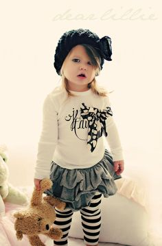 T'Aime,French inspired black + white toddler outfit. Stripes.