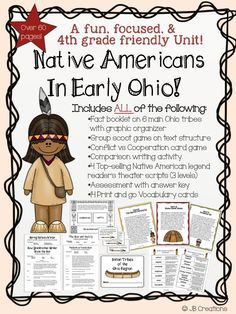 "Aligned to 4th Grade Ohio SS Model standards!  Over 7 student centered, engaging activities are included in this unit!   It includes facts on the 6 main Ohio tribes & graphic organizers, a ""group scoot"" text structure game, vocabulary cards, a conflict & cooperation game, a writing activity, 4 Native American reader's theater scripts, and a comprehensive assessment.  http://www.teacherspayteachers.com/Product/Native-Americans-in-Ohio-MEGA-bundle-4th-grade-Ohio-Model-social-studies-1419107"