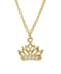 This Cubic Zirconia & Gold Vermeil Crown Necklace is perfect! #zulilyfinds