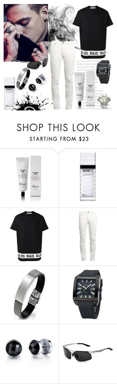 """It's Black, It's White"" by freida-adams ❤ liked on Polyvore featuring Bellini, Baxter of California, Christian Dior, Givenchy, Yves Saint Laurent, men's fashion and menswear"