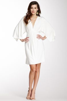 Mini Caftan Dress in white, women clothing which you can instead of salwar kameez