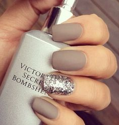brown grey nails with glitter #victoriassecret