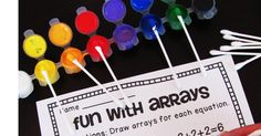 I love learning about arrays because they are so visual which allows for a lot of really fun rectangular arrays activities and practice! Fun Math Games, Math Activities, Maths Fun, Learning Games, Kids Learning, Learning Multiplication, Teaching Math, Math Stations, Math Centers