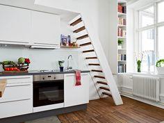 Small Swedish flat with mezzanine floor.
