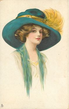 lady facing right in cream dress, blue throw, dark blue hat with yellow hat-band & feathers