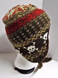 BILLABONG Youth Toboggan Winter Hat Brown Skull Cap Fleece Lined Kids Braided #Billabong #Stocking