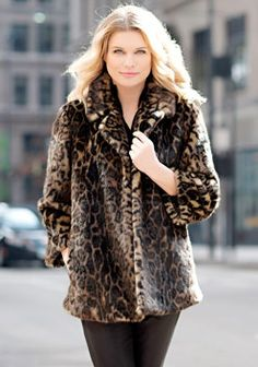 Leopard Notch-Collar Mid-Length Faux Fur Coat