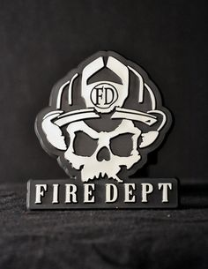 Skull Logo Trailer Hitch Cover - Black Helmet Firefighter Shirts, Hats, Decals and Accessories