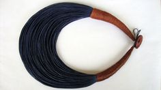 Deep blue and Cinnamon Fiber Statement Necklace by superlittlecute, $40.00