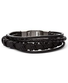 Fossil Men's Bracelet, Black Leather Multi-Wrap Bracelet - Fashion Bracelets - Jewelry & Watches - Macy's