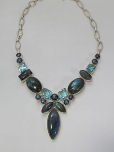 Labradorite and Blue Topaz Necklace 1 with Pearl