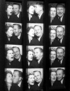Walt and Lillian Disney acting silly together in a photo booth
