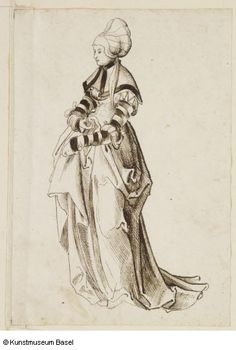 """Bürgersfrau mit Haube"" (City woman with haube), 1500–1550. Anonym, Schweiz (Basel)."