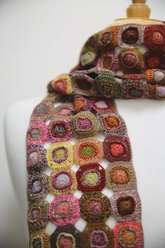 Sophie Digard penny motif small scarf in warm greens, purples, pinks, yellow and orange