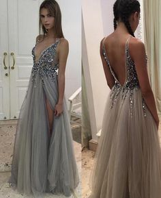 Long A-line Prom Dresses, Grey Sleeveless With Beaded/Beading Floor-length Prom Dresses