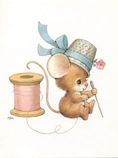 Ruth Morehead - Mouse with Spool of Thread & Thimble on Head - Sewing Animal Drawings, Cute Drawings, Cute Mouse, Sewing Art, Beatrix Potter, Illustrations, Cute Illustration, Vintage Cards, Cute Art