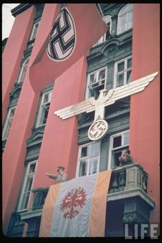 Adolf Hitler during the Austrian election campaign at Salzburg, March 1938
