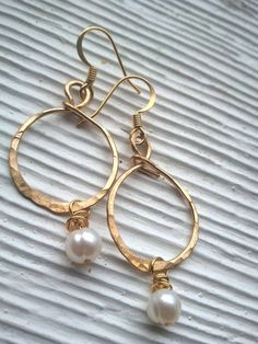 gold wire hammered hoops with wire wrapped by RisingDawnBoutique, $20.00
