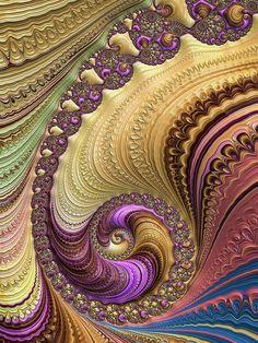 Spiral Digital Art - Luxe Colorful Fractal Spiral by Matthias Hauser