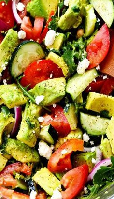 Avocado, Tomato and Cucumber Arugula Salad