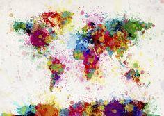 Paint Splashes Map - Wall Mural & Photo Wallpaper - Photowall