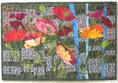 "Field of Poppies A 23 1/2"" X 36"" Art Quilt. $400.00, via Etsy."