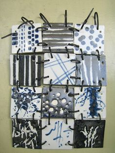Black and white ceramic quilt - Sylvia Chase