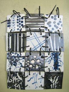 hand-built, porcelain tiles, wax resist, black and clear glaze, high-fired… Collaborative Art Projects, School Art Projects, Ceramics Projects, Clay Projects, Group Projects, Ceramic Clay, Ceramic Pottery, Ceramic Jewelry, Art Classroom