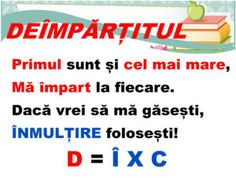 Deimpartitul - planșe terminologie Algebra, School Staff, Kids Education, Kids And Parenting, Geography, Grammar, Me Quotes, Teacher, Homeschooling