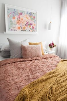 Autumn styled bedroom, pink and autumn bedroom, floral artwork, autumn style bedroom, rust coloured bedding Pink Bedroom Decor, Bedroom Artwork, One Bedroom, Floral Bedroom, Floral Bedding, Mustard Bedroom, Mustard Bedding, Gray Bedding, Queen Bedding