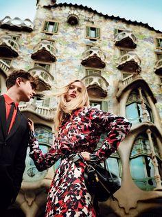 Sasha Pivovarova and James Blake in Barcelona, photographed by Mario Testino, Vogue, May 2014.