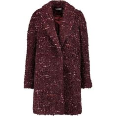 Elizabeth and James - Bebe Bouclé Coat (18.700 RUB) ❤ liked on Polyvore featuring outerwear, coats, jackets, coats & jackets, burgundy, fitted blazer jacket, boyfriend jacket blazer, boucle coat, brown blazer and elizabeth and james blazer