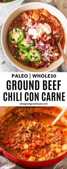 If you are looking for the best beanless chili recipe that's thick and packed with flavor, you will love this Whole30 and paleo chili con carne. Easy to make and so delicious! Healthy Meat Recipes, Primal Recipes, Whole30 Recipes, Chili Recipes, Whole Food Recipes, Food Dishes, Main Dishes, Paleo Chili