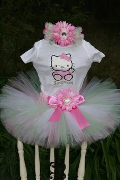 Oh I need this fro Brye!!!  Birthday Tutu Outfit Hello Kitty 3 piece set by TinasOnceUponATutu