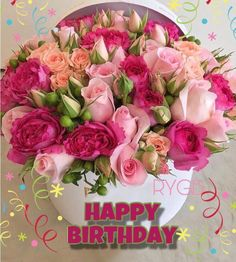 Happy Birthday Pictures For Women Flowers 63 Ideas For 2020 Happy Birthday Flowers Wishes, Happy Birthday Bouquet, Happy Birthday Rose, Birthday Wishes Greetings, Birthday Roses, Birthday Blessings, Happy Birthday Pictures, Happy Birthday Messages, Birthday Images